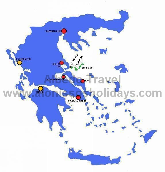 Map of Greece and Alonissos